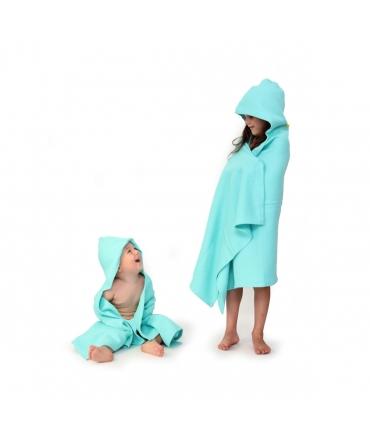 Toalla Bebé con Capucha + Toallita Ekobo - Azul Cian