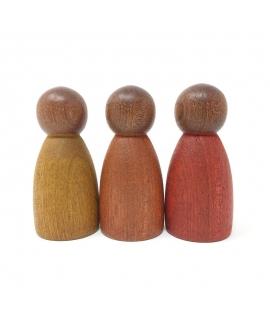 3 Nins® en Madera Oscura - Colores Cálidos