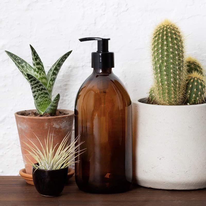 Botella de Vidrio Ámbar - Dispensador