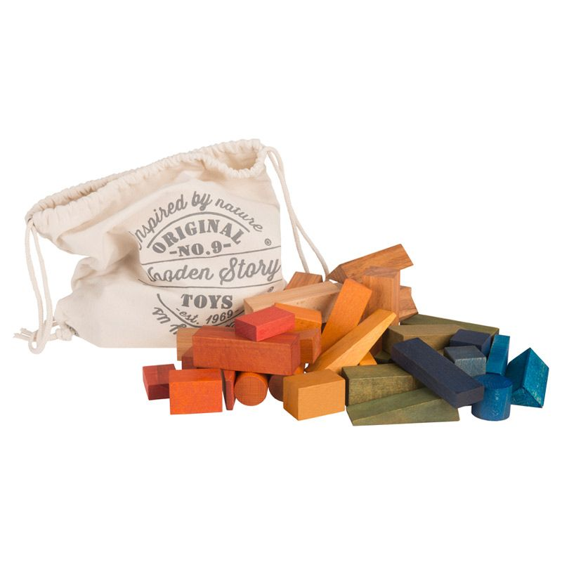 Saco de Bloques Rainbow 50 piezas XL - Wooden Story