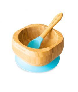 Bol + Cuchara de Madera de Bambú - Azul