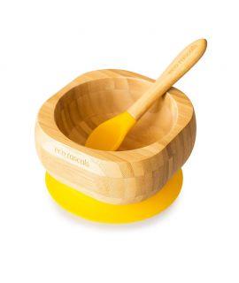 Bol + Cuchara de Madera de Bambú - Amarillo